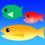 お魚のイラスト3種類「単色塗りカラー・グラデーションカラー各8色」全48素材