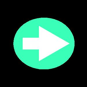 楕円形矢印アイコン1種類目水色